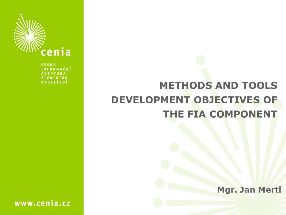 Mgr. Jan Mertl METHODS AND TOOLS DEVELOPMENT OBJECTIVES OF THE FIA COMPONENT