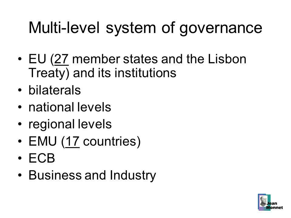 Multi-level system of governance EU (27 member states and the Lisbon Treaty) and its institutions bilaterals national levels regional levels EMU (17 countries) ECB Business and Industry