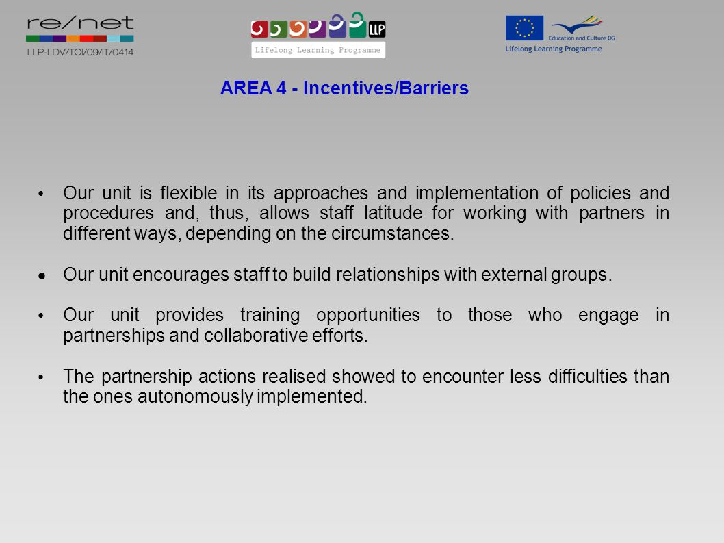 AREA 4 - Incentives/Barriers Our unit is flexible in its approaches and implementation of policies and procedures and, thus, allows staff latitude for working with partners in different ways, depending on the circumstances.