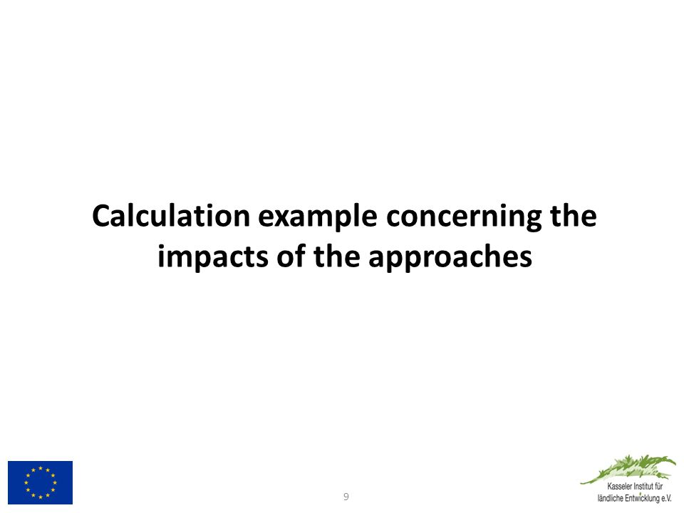 Calculation example concerning the impacts of the approaches 9