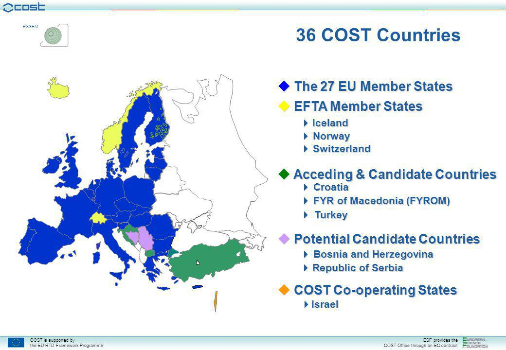 COST is supported by the EU RTD Framework Programme ESF provides the COST Office through an EC contract ESSEM  The 27 EU Member States  EFTA Member States  Iceland  Norway  Switzerland  Acceding & Candidate Countries  Croatia  Acceding & Candidate Countries  Croatia  FYR of Macedonia (FYROM)  Turkey  Potential Candidate Countries  Bosnia and Herzegovina  Republic of Serbia  COST Co-operating States  Israel 36 COST Countries