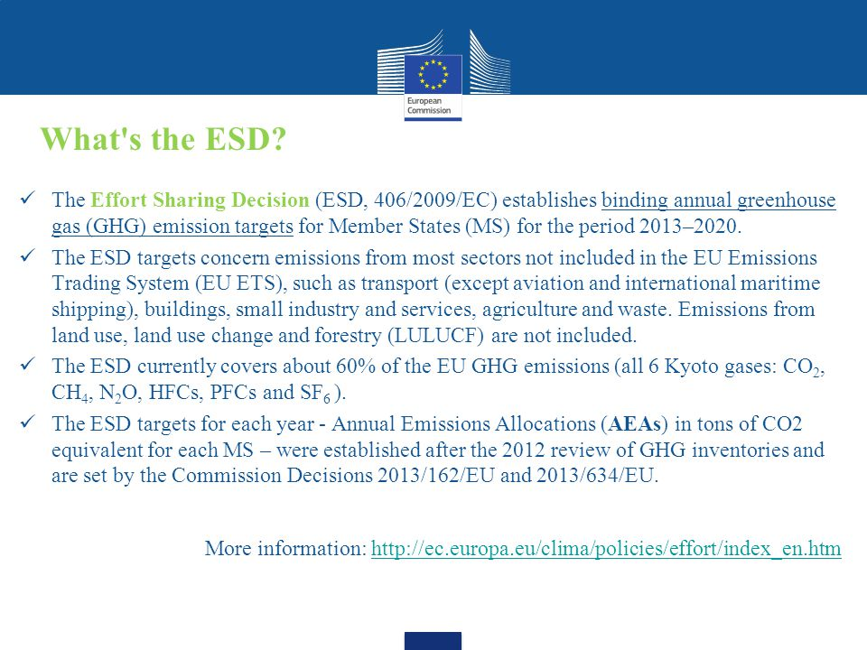 The Effort Sharing Decision (ESD, 406/2009/EC) establishes binding annual greenhouse gas (GHG) emission targets for Member States (MS) for the period 2013–2020.