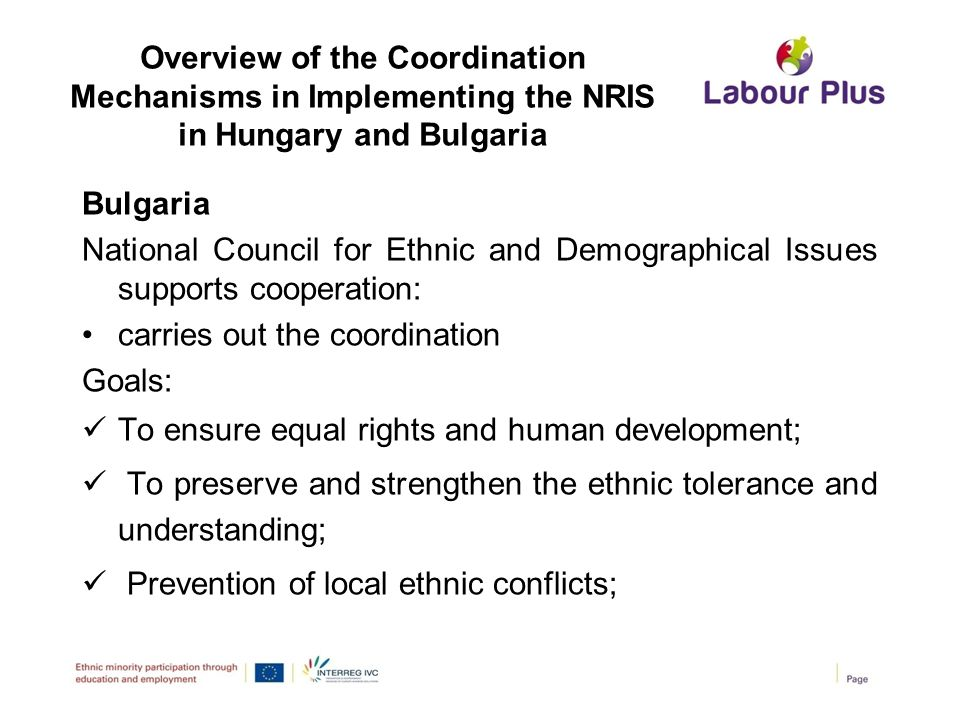 Overview of the Coordination Mechanisms in Implementing the NRIS in Hungary and Bulgaria Bulgaria National Council for Ethnic and Demographical Issues
