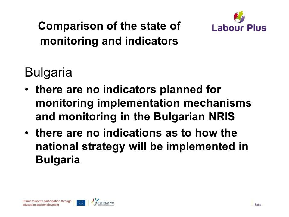 Comparison of the state of monitoring and indicators Bulgaria there are no indicators planned for monitoring implementation mechanisms and monitoring