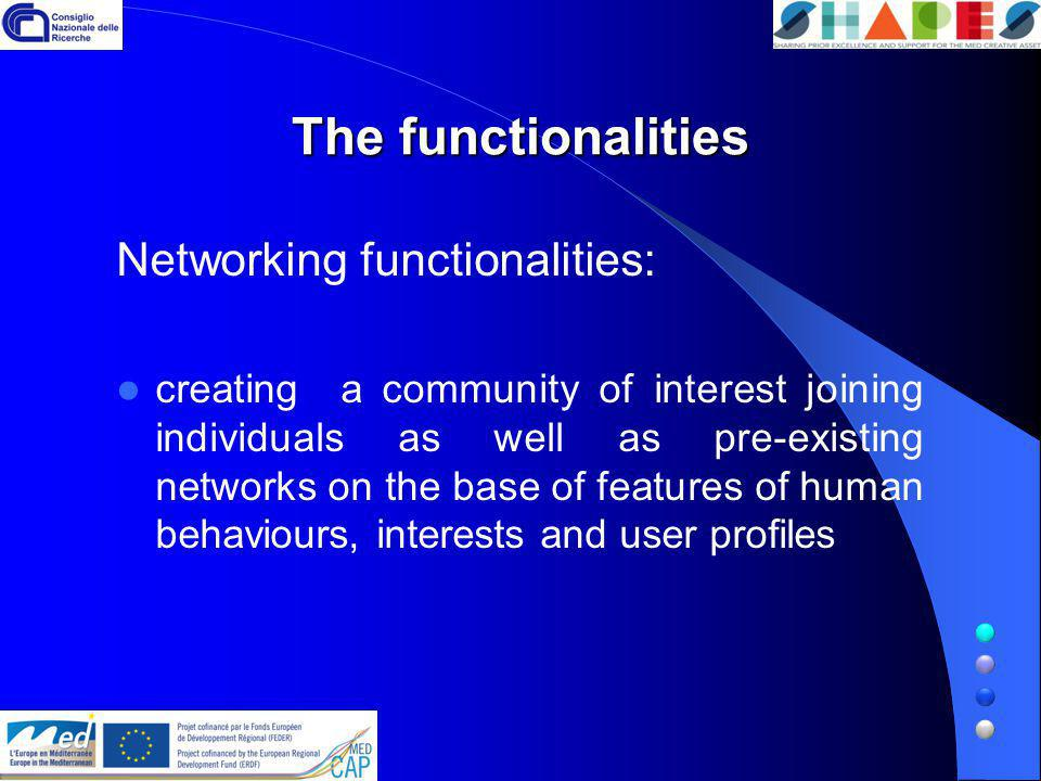 The functionalities Networking functionalities: creating a community of interest joining individuals as well as pre-existing networks on the base of f
