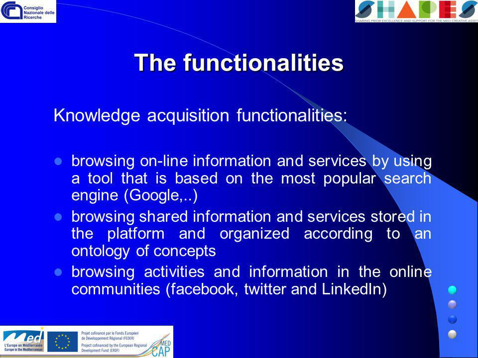 The functionalities Knowledge creation functionalities: enabling people to profile themselves, on the base of pre-defined profiles defining a new profile providing its features providing the profile information