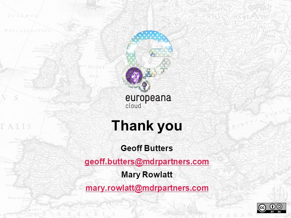 Tha n k you Geoff Butters geoff.butters@mdrpartners.com Mary Rowlatt mary.rowlatt@mdrpartners.com