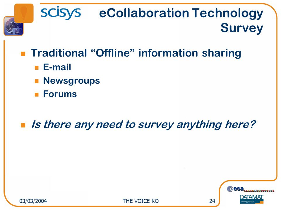 "THE VOICE KO2403/03/2004 Traditional ""Offline"" information sharing E-mail Newsgroups Forums Is there any need to survey anything here? eCollaboration"