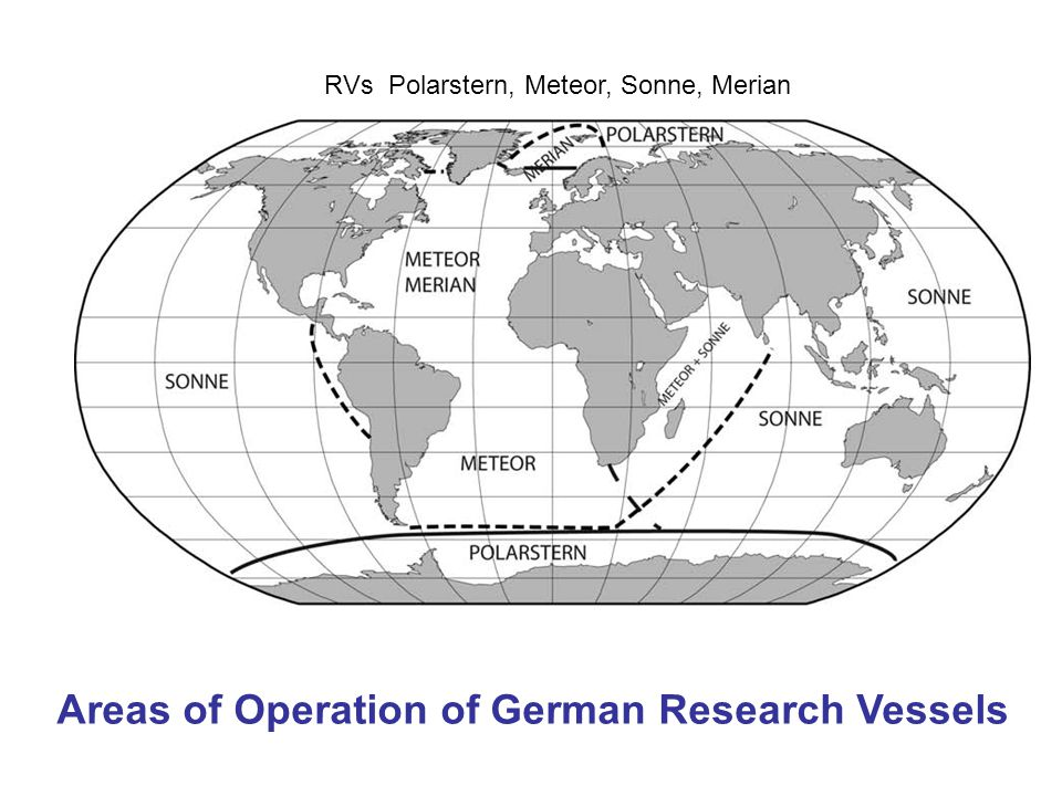 Areas of Operation of German Research Vessels RVs Polarstern, Meteor, Sonne, Merian