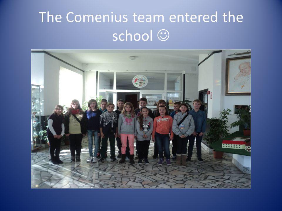 The Comenius team entered the school