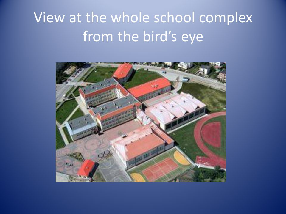 View at the whole school complex from the bird's eye