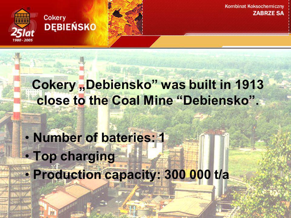 "Cokery ""Debiensko was built in 1913 close to the Coal Mine Debiensko ."