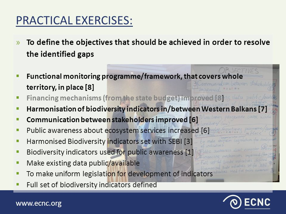 www.ecnc.org »Develop action plans to solve three priority objectives  1) Action/target  2) How/Means by which that objective will be achieved  3) Who will do it  4) When it will be achieved  5) Which stakeholders to involve  6) Optional/later: Cost and source of funding.