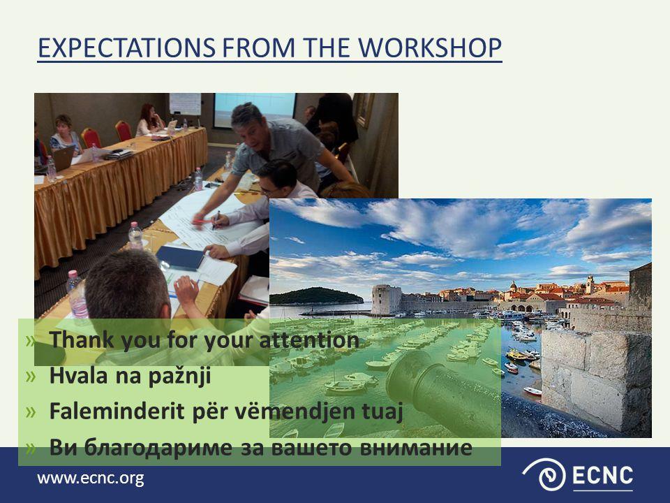 www.ecnc.org EXPECTATIONS FROM THE WORKSHOP »Thank you for your attention »Hvala na pažnji »Faleminderit për vëmendjen tuaj »Ви благодариме за вашето внимание