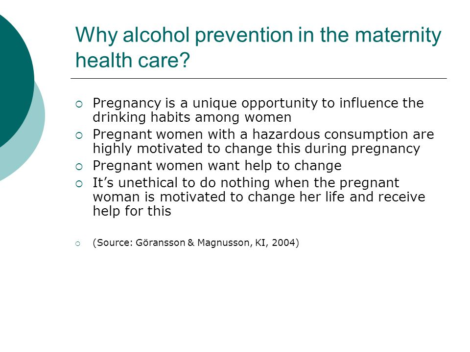 Why alcohol prevention in the maternity health care.