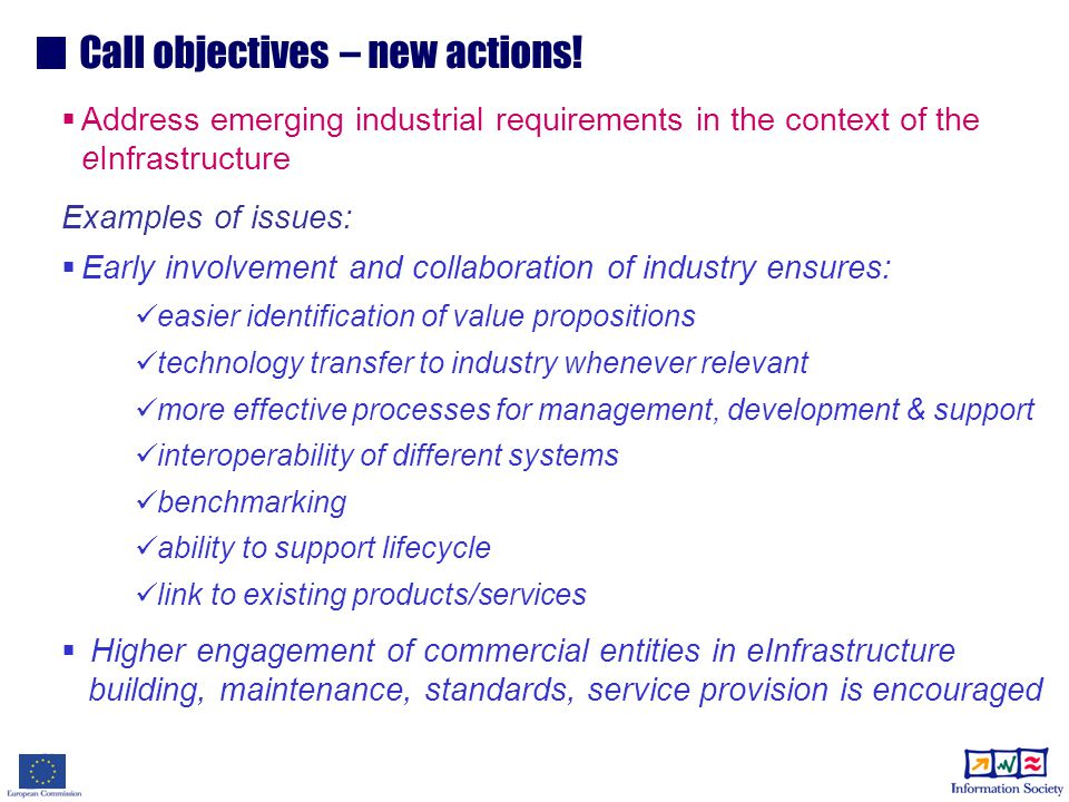 Call objectives – new actions.