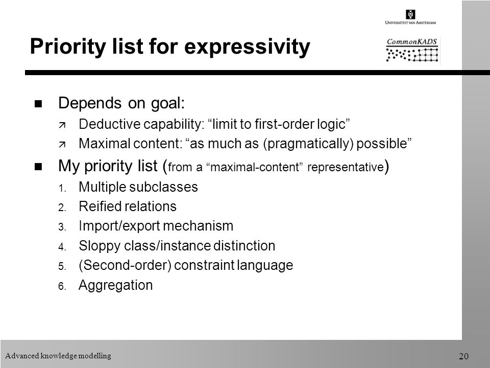 Advanced knowledge modelling 20 Priority list for expressivity n Depends on goal: ä Deductive capability: limit to first-order logic ä Maximal content: as much as (pragmatically) possible n My priority list ( from a maximal-content representative ) 1.