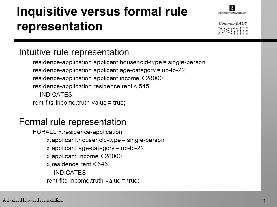 Advanced knowledge modelling 8 Inquisitive versus formal rule representation Intuitive rule representation residence-application.applicant.household-type = single-person residence-application.applicant.age-category = up-to-22 residence-application.applicant.income < 28000 residence-application.residence.rent < 545 INDICATES rent-fits-income.truth-value = true; Formal rule representation FORALL x:residence-application x.applicant.household-type = single-person x.applicant.age-category = up-to-22 x.applicant.income < 28000 x,residence.rent < 545 INDICATES rent-fits-income.truth-value = true;