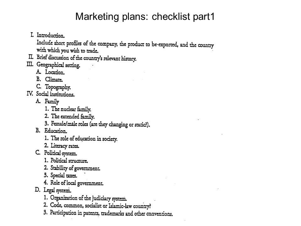 Marketing plans: checklist part1