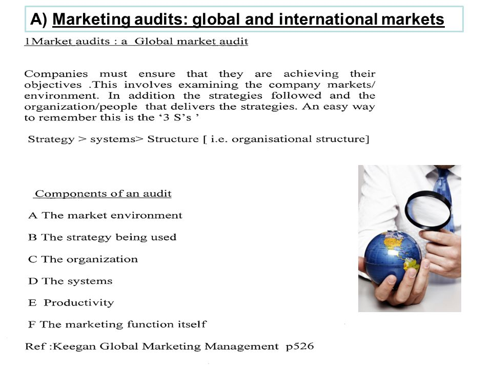 The components of an audit in more depth 1 The market environment