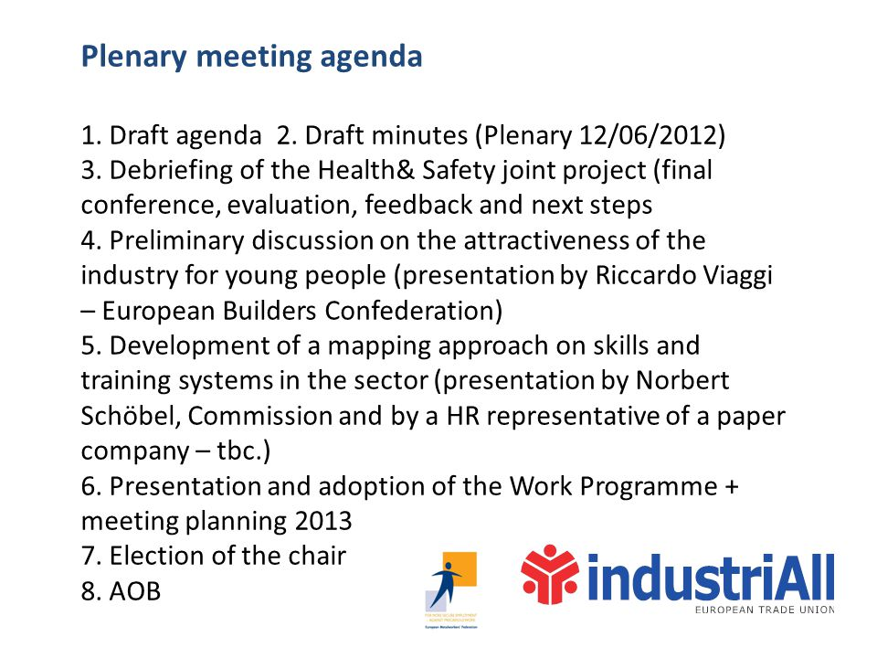 Plenary meeting agenda 1. Draft agenda 2. Draft minutes (Plenary 12/06/2012) 3. Debriefing of the Health& Safety joint project (final conference, eval