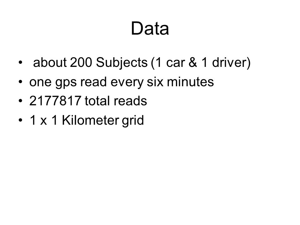 Data about 200 Subjects (1 car & 1 driver) one gps read every six minutes 2177817 total reads 1 x 1 Kilometer grid