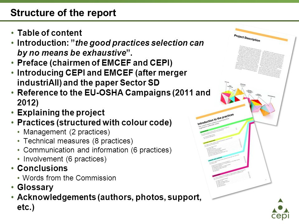 The Practices Management (2 practices) This section proposes practices that concern the general management of health and safety at the workplace.