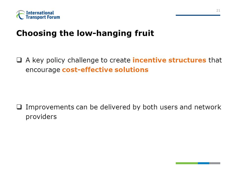 Choosing the low-hanging fruit  A key policy challenge to create incentive structures that encourage cost-effective solutions  Improvements can be delivered by both users and network providers 21