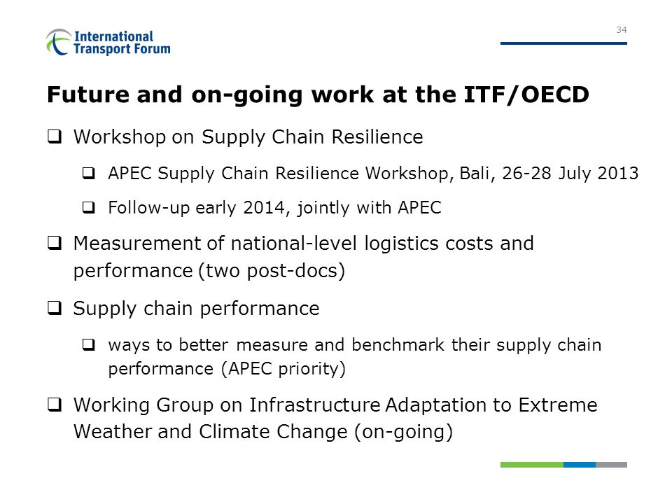 Future and on-going work at the ITF/OECD  Workshop on Supply Chain Resilience  APEC Supply Chain Resilience Workshop, Bali, 26-28 July 2013  Follow-up early 2014, jointly with APEC  Measurement of national-level logistics costs and performance (two post-docs)  Supply chain performance  ways to better measure and benchmark their supply chain performance (APEC priority)  Working Group on Infrastructure Adaptation to Extreme Weather and Climate Change (on-going) 34