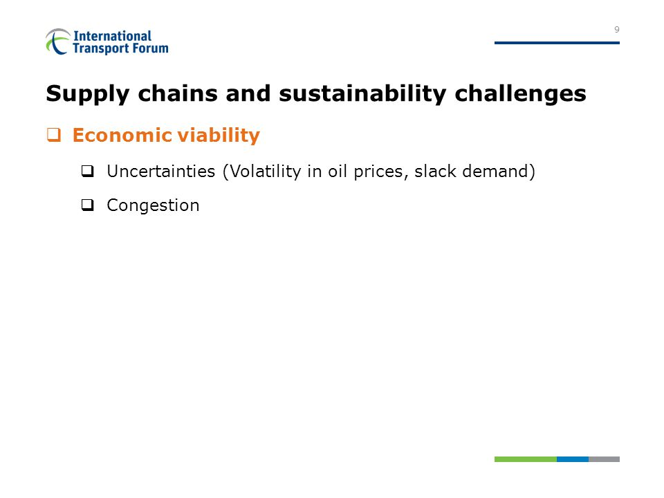 Supply chains and sustainability challenges  Economic viability  Uncertainties (Volatility in oil prices, slack demand)  Congestion 9