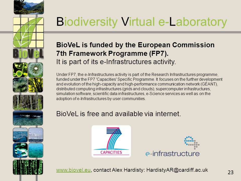 23 Biodiversity Virtual e-Laboratory BioVeL is funded by the European Commission 7th Framework Programme (FP7).