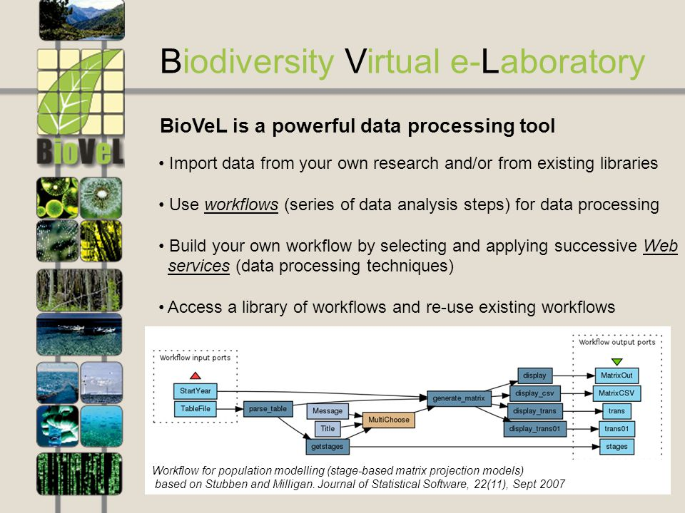 3 Biodiversity Virtual e-Laboratory Import data from your own research and/or from existing libraries Use workflows (series of data analysis steps) for data processing Build your own workflow by selecting and applying successive Web services (data processing techniques) Access a library of workflows and re-use existing workflows Cut down research time and overhead expenses BioVeL is a powerful data processing tool Workflow for population modelling (stage-based matrix projection models) based on Stubben and Milligan.