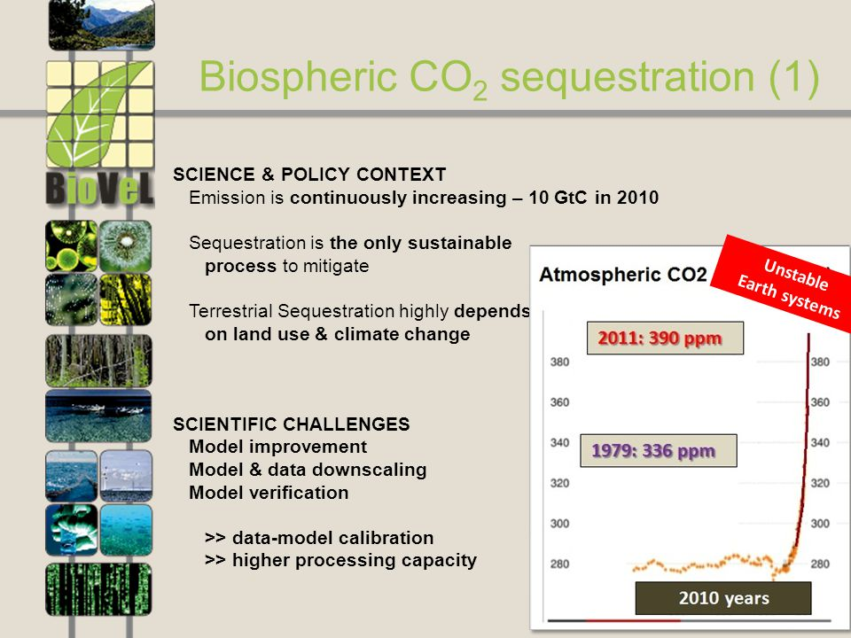 9 Biospheric CO 2 sequestration (1) SCIENCE & POLICY CONTEXT Emission is continuously increasing – 10 GtC in 2010 Sequestration is the only sustainable process to mitigate Terrestrial Sequestration highly depends on land use & climate change Unstable Earth systems SCIENTIFIC CHALLENGES Model improvement Model & data downscaling Model verification >> data-model calibration >> higher processing capacity