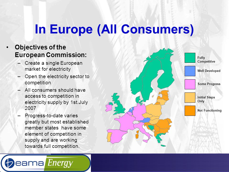 In Europe (All Consumers) Objectives of the European Commission: –Create a single European market for electricity –Open the electricity sector to competition –All consumers should have access to competition in electricity supply by 1st.July 2007 –Progress-to-date varies greatly but most established member states have some element of competition in supply and are working towards full competition.