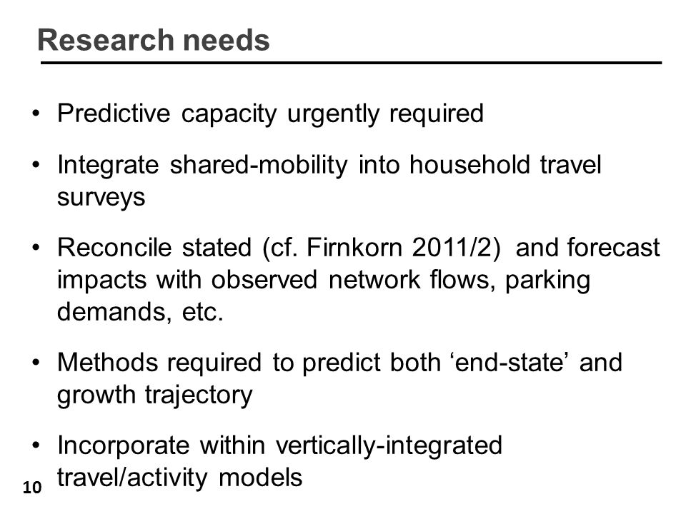 10 Research needs Predictive capacity urgently required Integrate shared-mobility into household travel surveys Reconcile stated (cf. Firnkorn 2011/2)