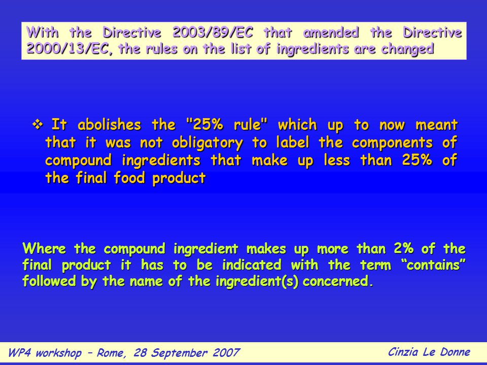 With the Directive 2003/89/EC that amended the Directive 2000/13/EC, the rules on the list of ingredients are changed  It abolishes the 25% rule which up to now meant that it was not obligatory to label the components of compound ingredients that make up less than 25% of the final food product Where the compound ingredient makes up more than 2% of the final product it has to be indicated with the term contains followed by the name of the ingredient(s) concerned.