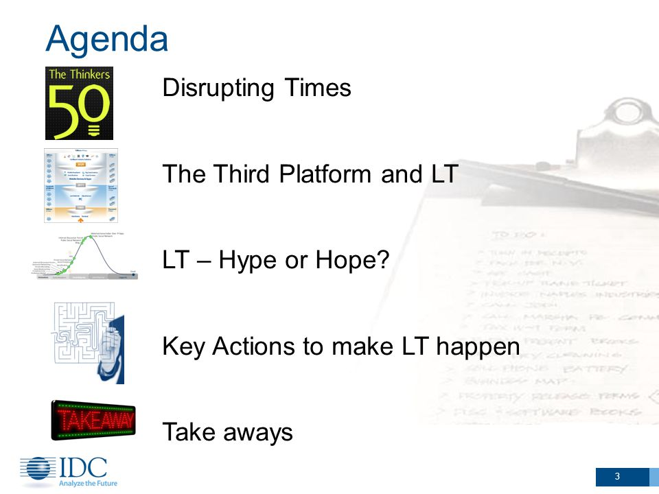 Agenda 3 Disrupting Times The Third Platform and LT LT – Hype or Hope.