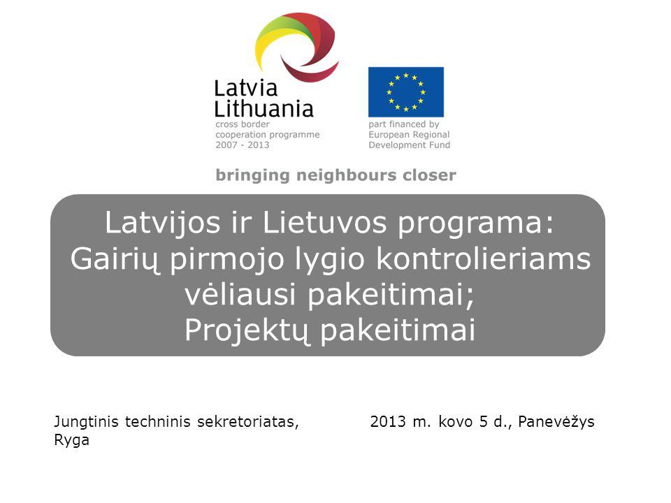 Latvijos ir Lietuvos programa: Gairių pirmojo lygio kontrolieriams vėliausi pakeitimai; Projektų pakeitimai Jungtinis techninis sekretoriatas, Ryga 2013 m.
