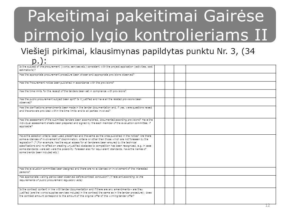 Pakeitimai pakeitimai Gairėse pirmojo lygio kontrolieriams II Viešieji pirkimai, klausimynas papildytas punktu Nr.