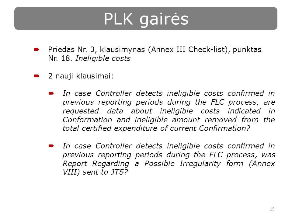 15 PLK gairės  Priedas Nr. 3, klausimynas (Annex III Check-list), punktas Nr.