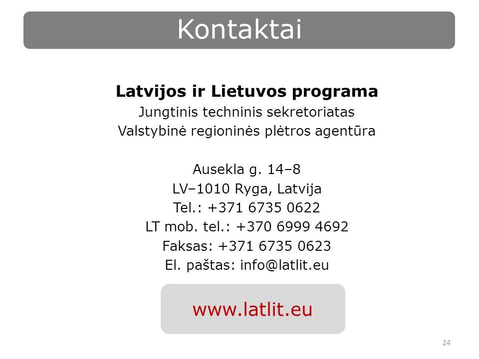 Latvijos ir Lietuvos programa Jungtinis techninis sekretoriatas Valstybinė regioninės plėtros agentūra Ausekla g.