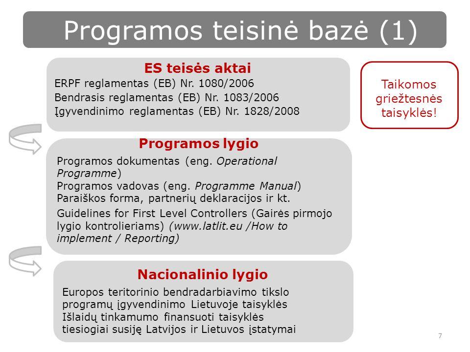 Programos teisinė bazė (1) 7 ES teisės aktai ERPF reglamentas (EB) Nr.
