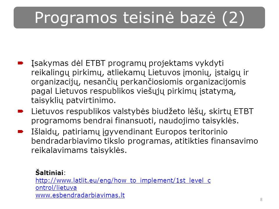  Įsakymas dėl ETBT programų projektams vykdyti reikalingų pirkimų, atliekamų Lietuvos įmonių, įstaigų ir organizacijų, nesančių perkančiosiomis organizacijomis pagal Lietuvos respublikos viešųjų pirkimų įstatymą, taisyklių patvirtinimo.