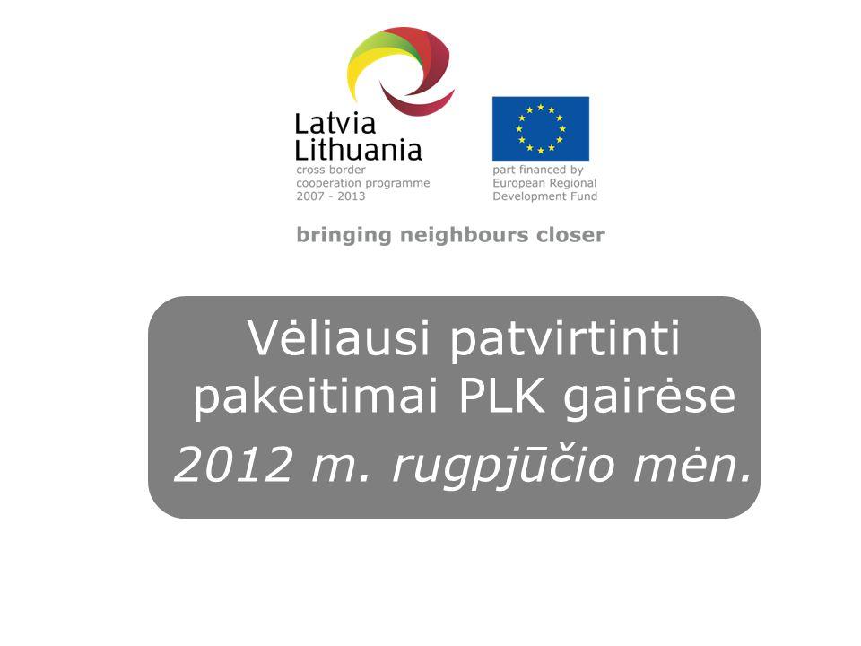 Vėliausi patvirtinti pakeitimai PLK gairėse 2012 m. rugpjūčio mėn.