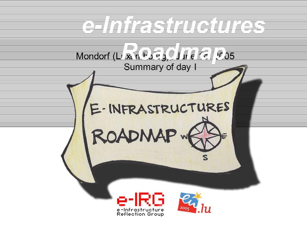 1. e-IRG meeting - June13, 2005, Mondorf (LU) 1 Mondorf (Luxembourg), June 14. 2005 Summary of day I e-Infrastructures Roadmap