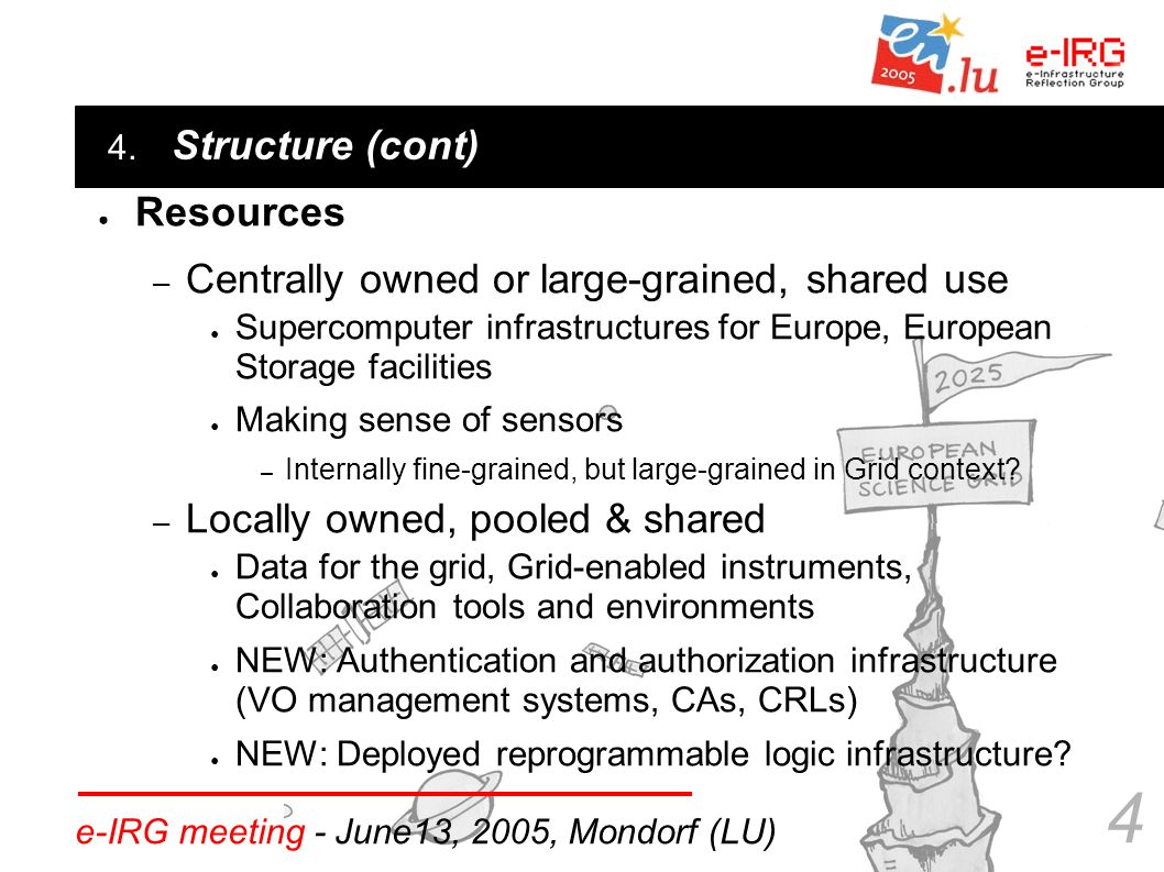 4. e-IRG meeting - June13, 2005, Mondorf (LU) 4 ● Structure (cont) ● Resources – Centrally owned or large-grained, shared use ● Supercomputer infrastr