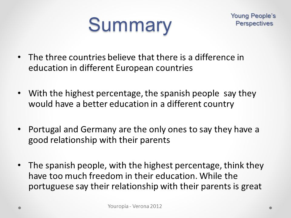 Summary The three countries believe that there is a difference in education in different European countries With the highest percentage, the spanish people say they would have a better education in a different country Portugal and Germany are the only ones to say they have a good relationship with their parents The spanish people, with the highest percentage, think they have too much freedom in their education.
