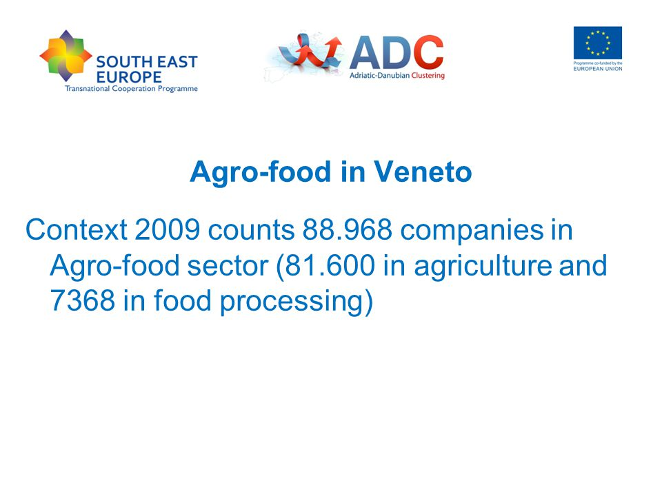Agro-food in Veneto Context 2009 counts 88.968 companies in Agro-food sector (81.600 in agriculture and 7368 in food processing)