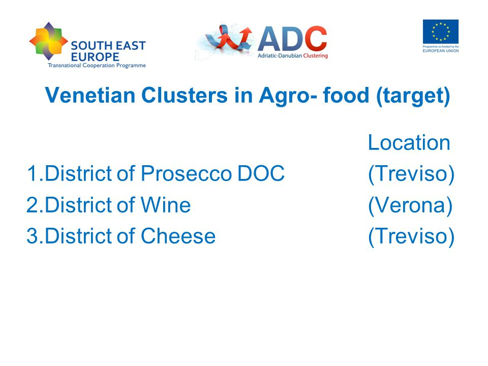 Venetian Clusters in Agro- food (target) Location 1.District of Prosecco DOC(Treviso) 2.District of Wine(Verona) 3.District of Cheese (Treviso)