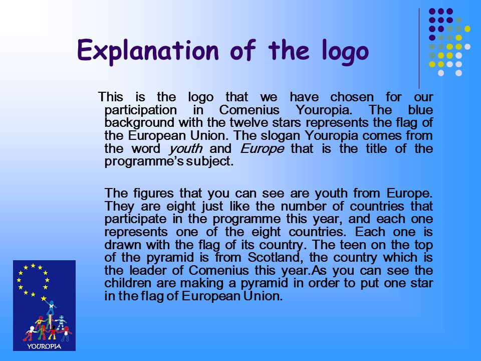 Explanation of the logo This is the logo that we have chosen for our participation in Comenius Youropia.